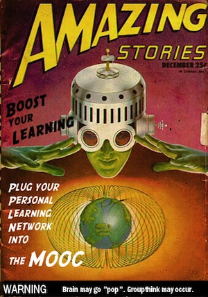 """The augmented learner, sporting a MOOC helmet"" (Sara Roegiers CC-BY-SA)"