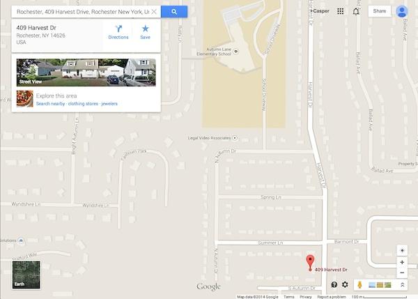 409 Harvest Drive, Rochester, NY (Google Maps)