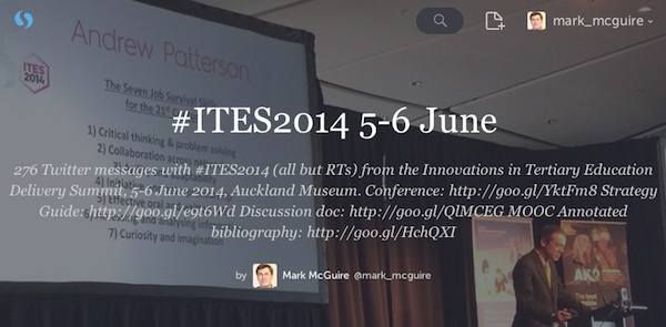 Click on this image to see the Storify archive of the #ITES2014 Twitter messages